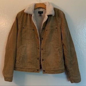 Tan sherpa lined corduroy jacket.